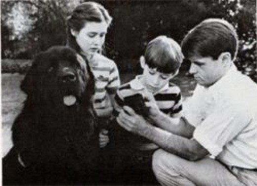 Brumus with Robert Kennedy and his kids